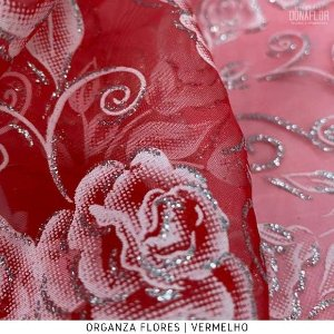 Organza Flores Vermelha tecido transparente e firme