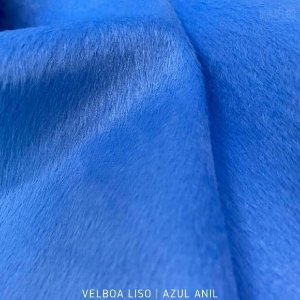 Velboa Azul Anil tecido Pelúcia Baixa pelô 3mm