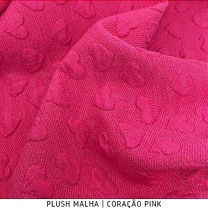 Plush Malha Amabile Coração fundo Pink tecido Maleável e estruturado