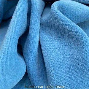 Plush Azul Médio Onda tecido toque Aveludado e Leve Brilho