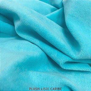 Plush Azul Caribe tecido toque Aveludado e Leve Brilho