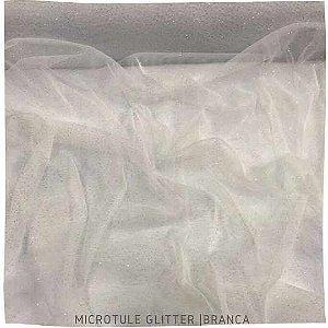 Microtule Glitter Branco tecido Fino e Leve
