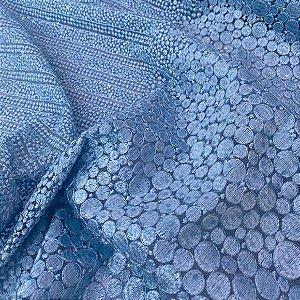Renda Bordada Azul tecido para Roupas e Costura Criativa