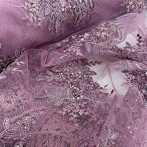 Renda Bordada com Pedrarias Marsala tecido para Roupas e Costura Criativa