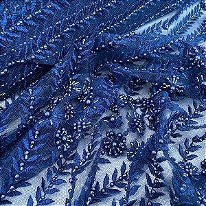 Renda Bordada com Pedrarias Marinho tecido para Roupas e Costura Criativa