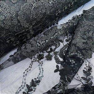 Renda Bordada com Pedrarias Preto tecido para Roupas e Costura Criativa