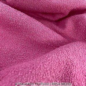 Atoalhado Felpudo Rosa Médio 100% Algodão tecido Felpado firme