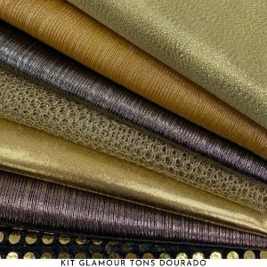 Kit Glamour Tecidos Dourados Metalizados, Lantejoulas e Brilhos, 7Recortes