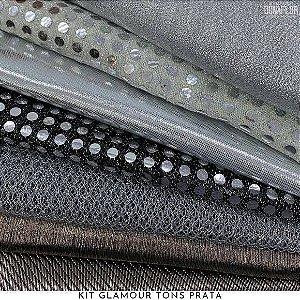 Kit Glamour Tecidos Prata Metalizados, Lantejoulas e Brilhos, 7Recortes