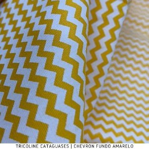 Tricoline Chevron Amarelo tecido 100%Algodão - 1,40Largura