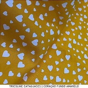 Tricoline Coração Amarelo tecido Cataguases 100%Algodão - 1,40Largura