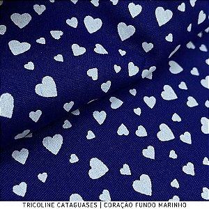 Tricoline Coração Marinho tecido Cataguases 100%Algodão - 1,40Largura