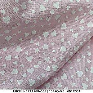Tricoline Coração Rosa  tecido Cataguases 100%Algodão - 1,40Largura