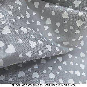 Tricoline Coração Cinza tecido Cataguases 100%Algodão - 1,40Largura