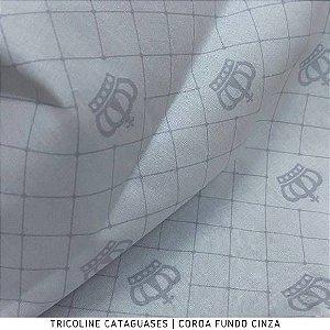 Tricoline Coroa Fundo Cinza tecido Cataguases 100%Algodão - 1,40Largura