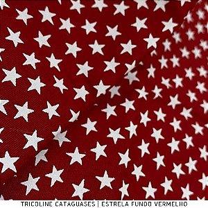Tricoline Estrela Vermelho tecido Cataguases 100%Algodão - 1,40Largura