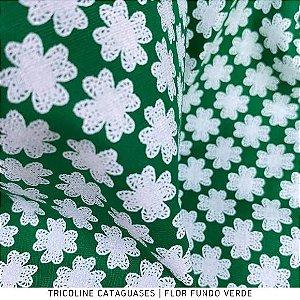 Tricoline Flor Verde Bandeira tecido Cataguases 100%Algodão - 1,40Largura