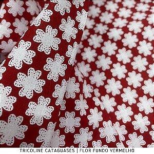 Tricoline Flor Vermelho tecido Cataguases 100%Algodão - 1,40Largura