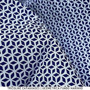 Tricoline Geométrico Marinho tecido Cataguases 100%Algodão - 1,40Largura