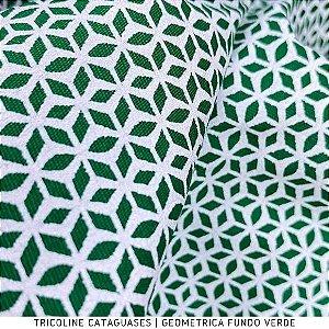 Tricoline Geométrico Verde Bandeira tecido Cataguases 100%Algodão - 1,40Largura