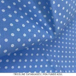 Tricoline Poá Azul tecido Cataguases 100%Algodão - 1,40Largura