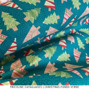 Tricoline Àrvores de Natal Cataguases 100%Algodão - 1,40Largura