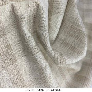 Linho Chess tecido fibras Naturais para Roupas, Costura Criativa