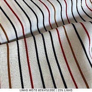 Linho Listra Preto e Vermelho tecido fibras Naturais e Viscose para Roupas, Costura Criativa