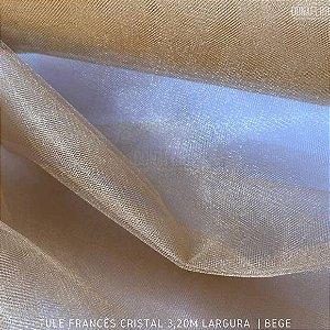 Tule Francês Bege tecido Fino, Leve e Brilhoso para Roupas e Decorações (3,20Largura)