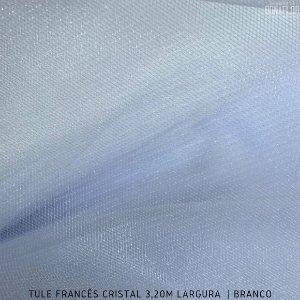 Tule Francês Branco tecido Fino, Leve e Brilhoso para Roupas e Decorações (3,20Largura)