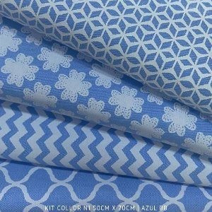 Kit Tricoline 4tecidos Collor Azul N1 100% Algodão - Medida 50cmx70cm