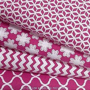 Kit Tricoline 4tecidos Collor Pink N1 100% Algodão - Medida 50cmx70cm