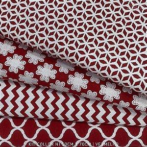 Kit Tricoline 4tecidos Collor Vermelho N1 100% Algodão - Medida 50cmx70cm