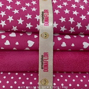Kit Tricoline 4tecidos Collor Pink N2 100% Algodão - Medida 50cmx70cm