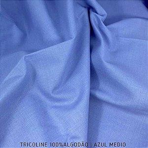 Tricoline Liso Azul Médio tecido 100% Algodão 1,40Largura