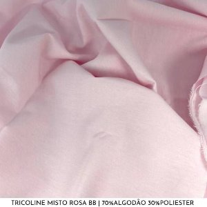 Tricoline Misto Rosa Bebê tecido 1,40Largura