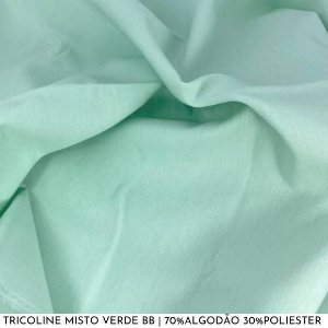 Tricoline Misto Verde Bebê tecido 1,40Largura
