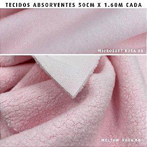Melton e Microsoft Rosa Bebê  tecidos Absorventes, Artesanato