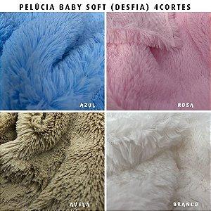 Pelúcia Baby Soft, 4Cortes 50cm tecido Macio, pelo médio, desfia - Medida 50cm x 1.50m