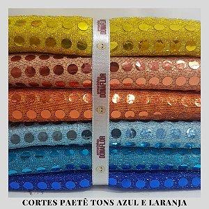 Paetê Americano tons Azul e Laranja 6tecidos 30cmx1,12cm