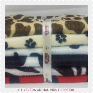 Kit Velboa Estampado 5tecidos