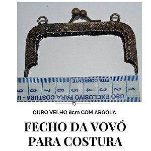 Fecho Vovó Para Costura Ouro Velho com Argola  8cm