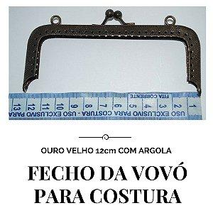 Fecho Vovó Para Costura Ouro Velho com Argola  12cm