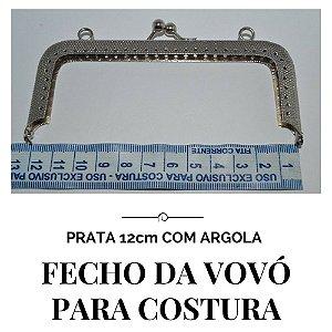 Fecho Vovó Para Costura Prata com Argola  12cm