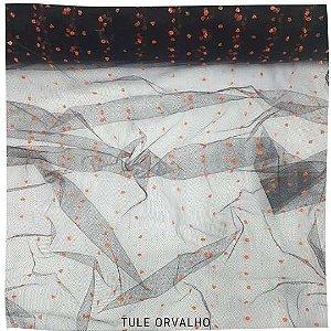 Tule Orvalho Preto Gotas Laranja  50cmx1,20cm