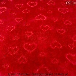 Plush Textura Dumas Coração Fundo Vermelho tecido Desenhos em Relevo 50cmx1,70m