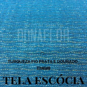 Tela Escócia turquesa fio prata|dourado  50X65cm