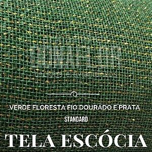 Tela Escócia verde  floresta  fio prata|dourado  50X65cm