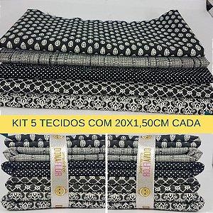Kit 5 Tecidos Algodão Fabricart N6