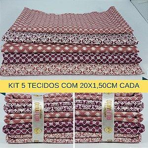 Kit 5 Tecidos Algodão Fabricart N5